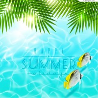 Summer tropical fish background vector material