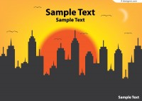 Sunrise city silhouette vector material
