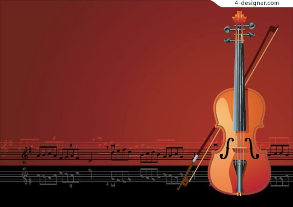 Texture and wonderful violin notes vector material