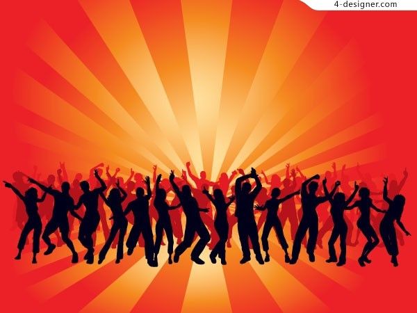 The men and women enjoying carnival dance silhouettes vector material