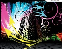The stylish of city building vector material