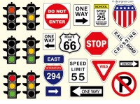 Traffic signs and signs vector material