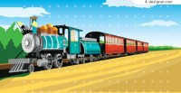 Train comic style vector material