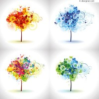Trees composed by fashionable elements vector material