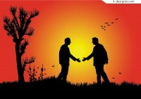 Two people friendly handshake silhouette vector material