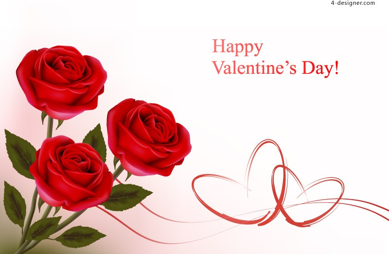 Valentine s Day rose background vector material