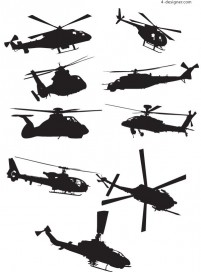 Variety helicopter silhouettes vector material