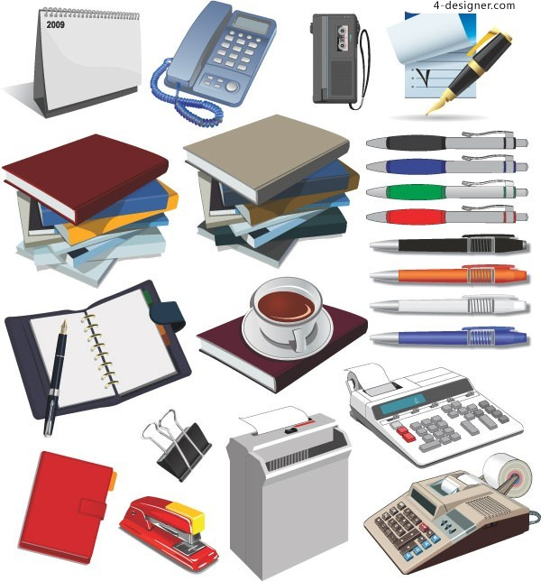 Commonly Used Office Supplies Vector