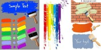 Various colors of paint and paint brush vector material
