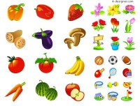 Various of fruits and flowers and sports goods icon vector materials