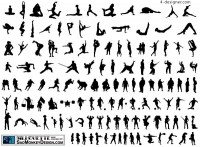 Various sports figures silhouette vector material