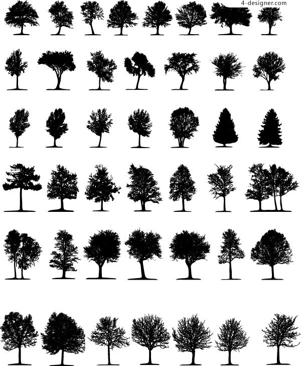 Various trees silhouette vector materials
