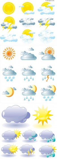 Various weather forecast icon vector materials