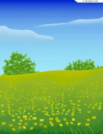 Vast expanse of wilderness spring vector material