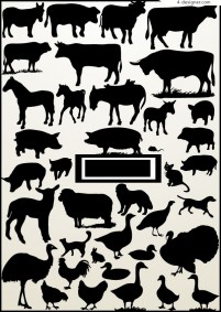 Vector silhouettes of various animals and poultry material