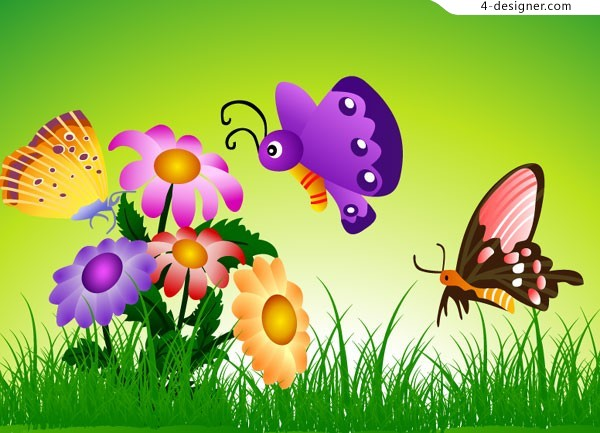 Cartoon pictures of flowers and butterflies
