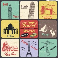 Vintage style travel background vector material