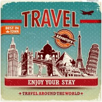 Vintage travel posters vector material