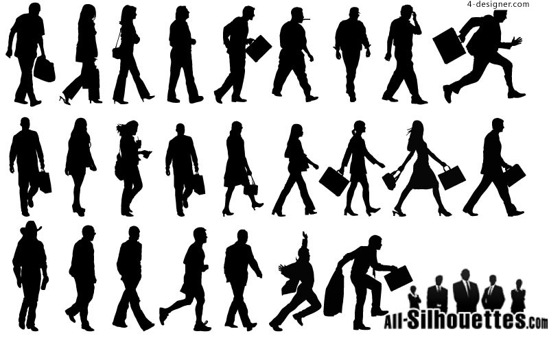 Walking People silhouettes vector material