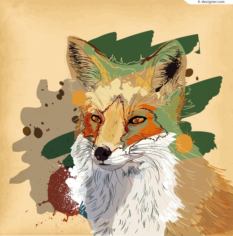Watercolor fox illustration vector material
