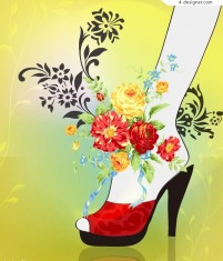 Wearing red high heels fashion beauty vector material