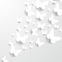 White paper cutting butterfly vector material