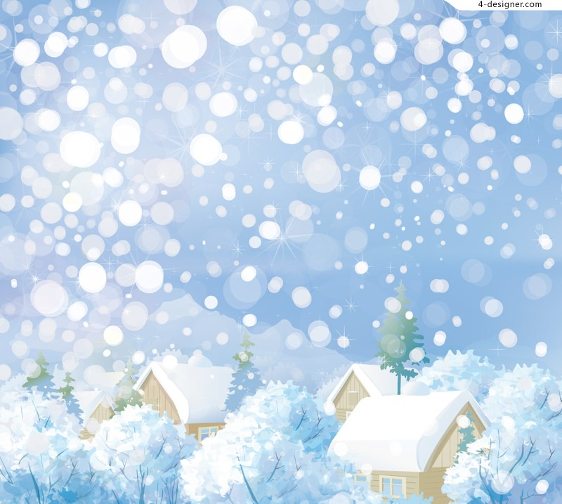 Winter town illustrator vector material