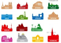 World renowned architectural silhouettes vector material