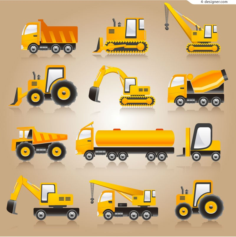 Yellow heavy vehicle vector material