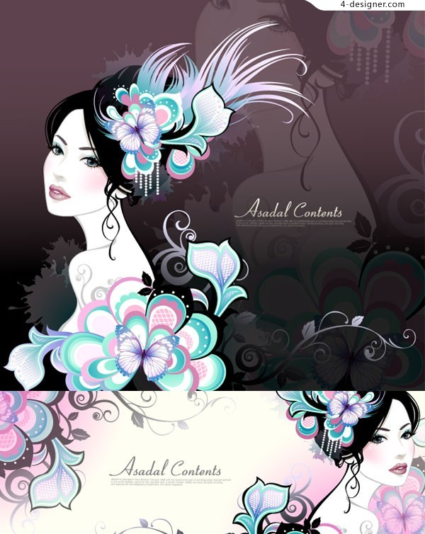 Young beauty vector material