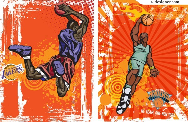 2 retro basketball background character illustrator vector materials