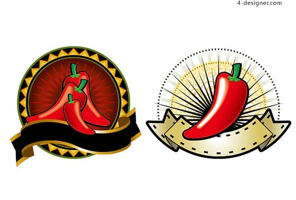 2 vector materials of attractive red pepper