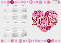 2014 Calendar decorated heart shaped buttons vector material