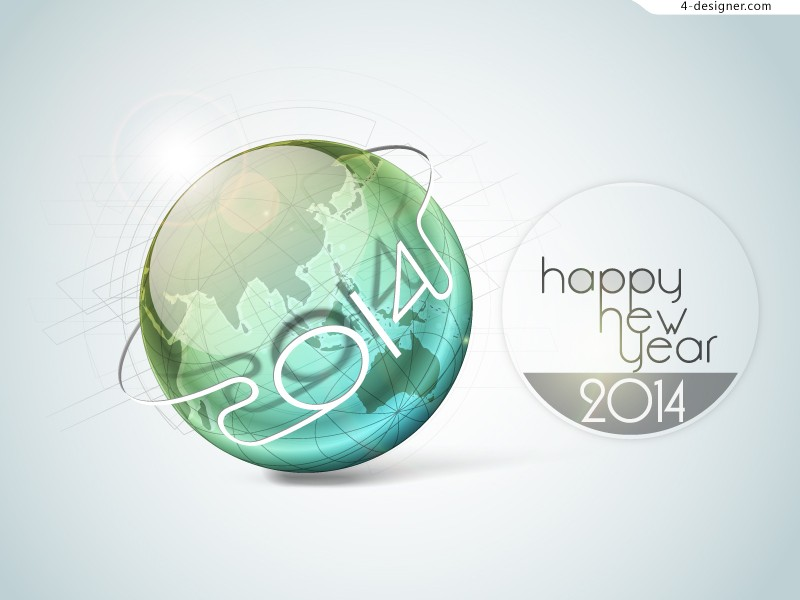2014 New Year s sphere poster vector material