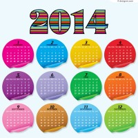 2014 color stickers calendar vector material