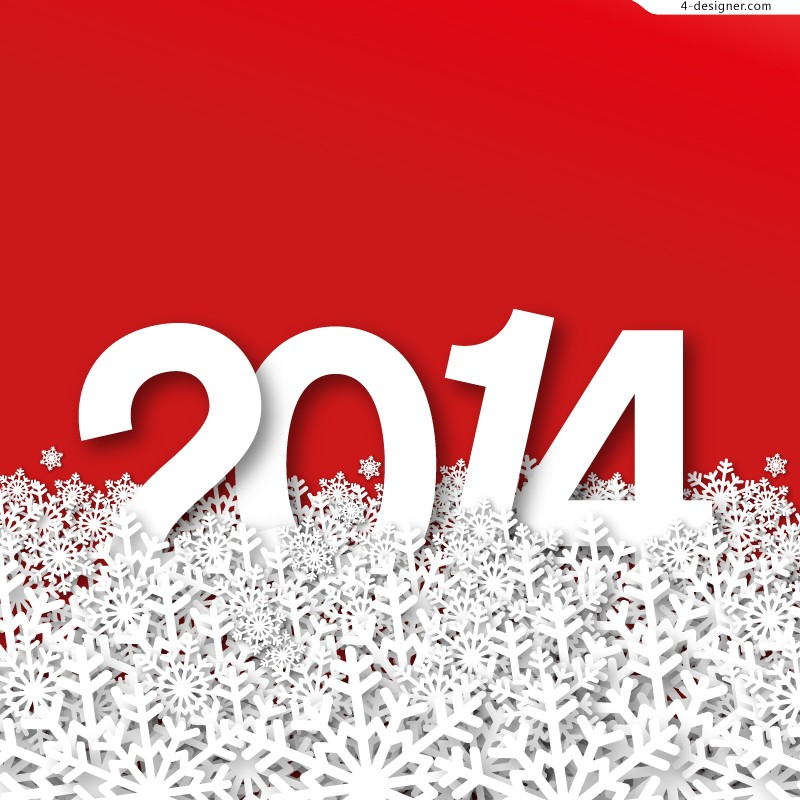 2014 paper cutting snowflakes background vector material