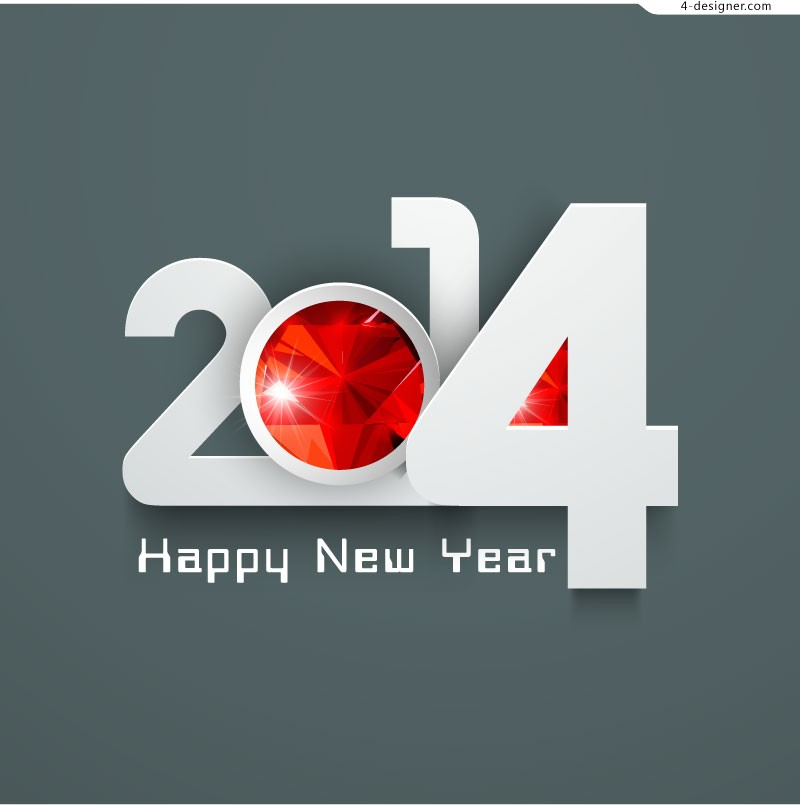 2014 three dimensional New Year poster vector material