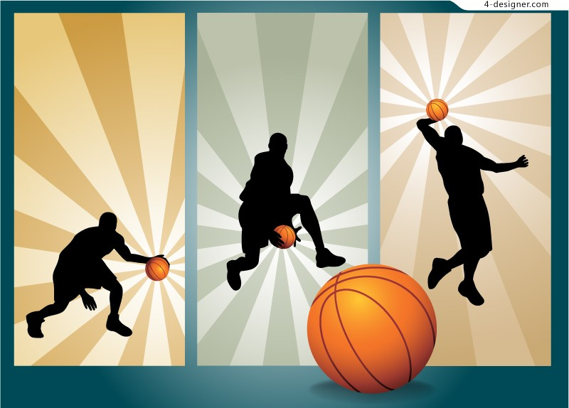 Basketball silhouettes vector material trend
