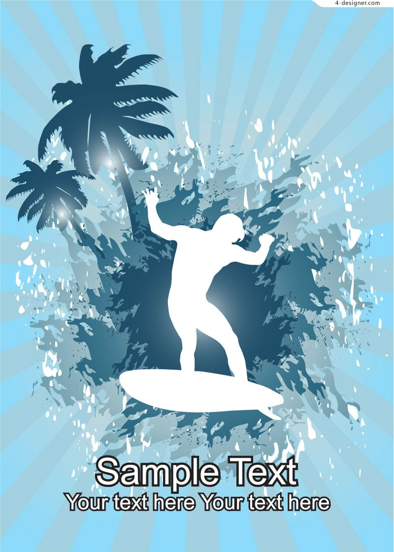 Summer surf silhouette vector material