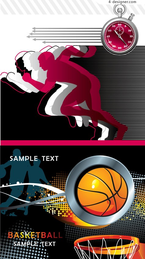 Basketball background vector material trend