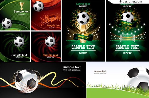 Football posters vector material dynamic trend