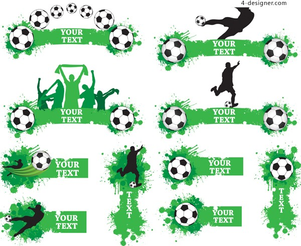 Football theme banner vector material trend