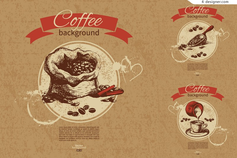 3 vector materials of retro coffee background