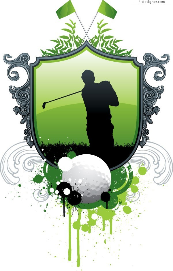 A fashion elements of golf figure silhouettes vector material