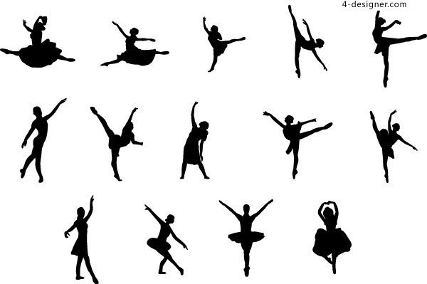 A group of graceful ballet movements silhouette vector materials