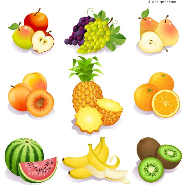 A lot of fruits vector materials