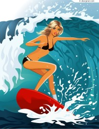 A sea surfing beauty vector material