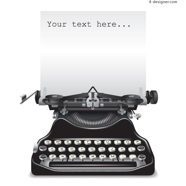 A vintage typewriter retro style vector material