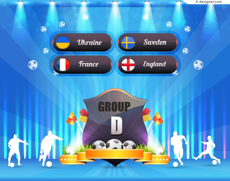 Beautiful football group stage poster vector material