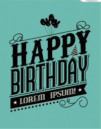 Black birthday font illustrator vector material